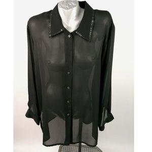Mantals Sheer Blouse Black Top Shirt Sex
